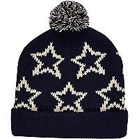Navy star print beanie hat