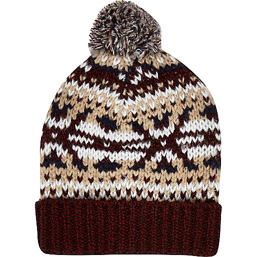 Dark red fair isle beanie hat