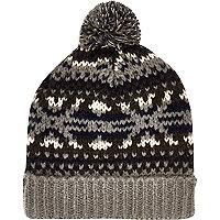 Grey fair isle beanie hat