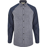 Blue raglan sleeve colour block shirt
