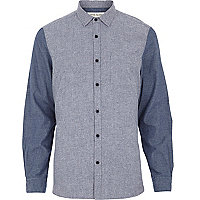 Blue brushed cotton colour block shirt