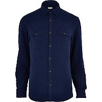Navy blue flannel long sleeve shirt