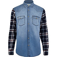 Light wash denim check sleeve shirt
