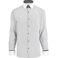 Light grey printed collar stand shirt