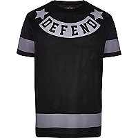 Black defend print mesh t-shirt