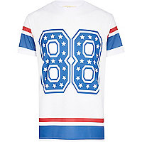White 88 star print mesh t-shirt