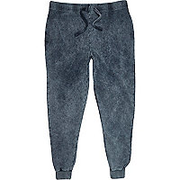 Dark grey acid wash slim joggers