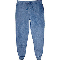 Blue acid wash slim joggers