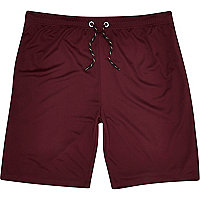 Dark red mesh long shorts