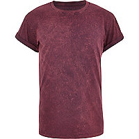 Dark red acid wash t-shirt