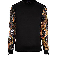 Black renaissance sleeve sweatshirt