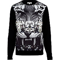 Black spliced tiger print mesh sweatshirt