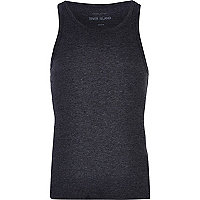 Dark grey marl rib vest