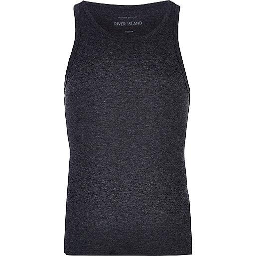 Dark grey marl rib vest