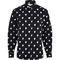 Navy ikat heart print long sleeve shirt