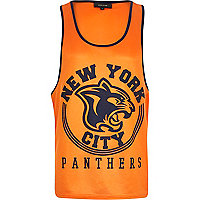 Orange New York Panthers print mesh vest