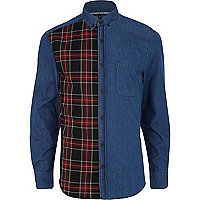 Dark wash tartan panel denim shirt
