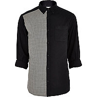 Black dogtooth two-tone Oxford shirt