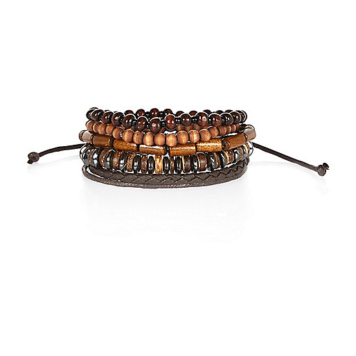 Brown wooden bead bracelet pack