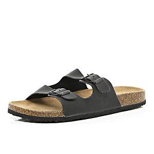 Black double strap mule sandals