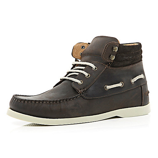 Dark brown boat ankle boots