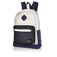 Navy colour block mesh backpack