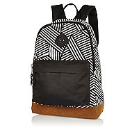 Black and white graphic print backpack