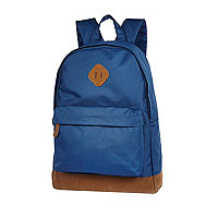 Blue canvas contrast trim backpack