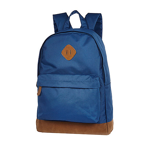 Blue canvas contrast trim backpack