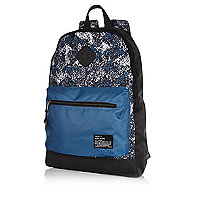 Blue textured print colour block backpack