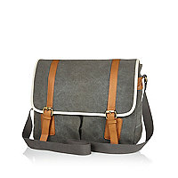 Grey canvas satchel