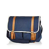 Blue canvas contrast trim satchel