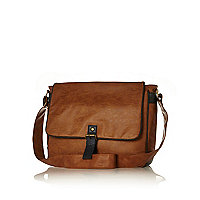 Tan flap over messenger bag