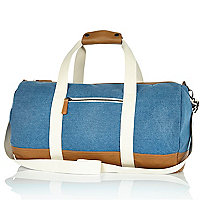 Blue denim contrast trim holdall