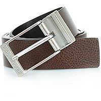 Dark brown etched buckle belt