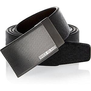 Black etched buckle belt