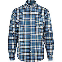 Blue tartan long sleeve shirt