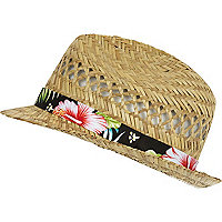 Ecru Hawaiian trim straw trilby hat