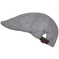 Grey herringbone flat peak cap