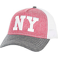 Pink chambray LA trucker hat