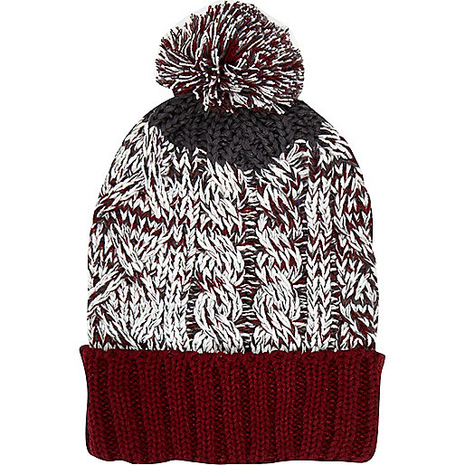 Dark red cable knit colour block beanie hat