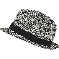 Black and white twist straw fedora hat
