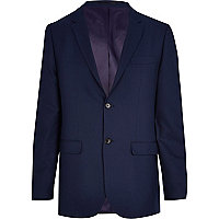 Navy blue herringbone tailored suit jacket