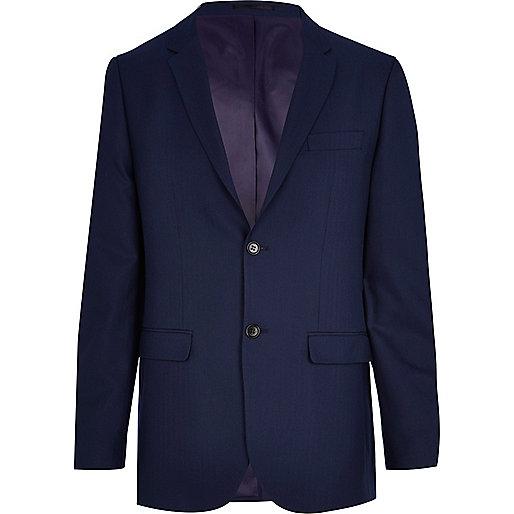 Navy blue herringbone tailored suit jacket