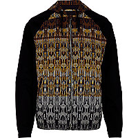 Black aztec print colour block bomber jacket