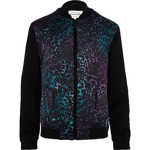 Purple leopard print bomber jacket