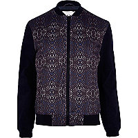 Blue patterned bomber jacket