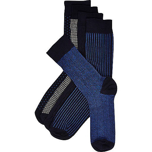 Navy mixed print ankle socks pack