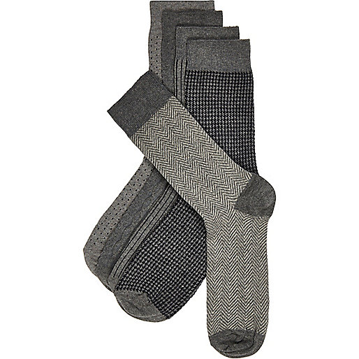 Grey mixed print ankle socks pack