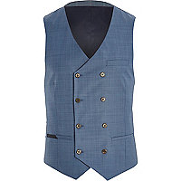 Blue double breasted waistcoat